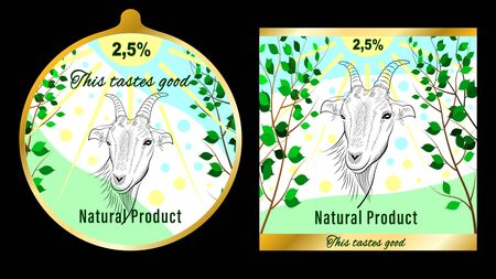 Label, farm product packaging. pencil handmade drawing of the head of the goat in a meadow under the sun. Vector illustration Иллюстрация