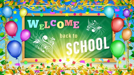 Welcome back to School inscription on blackboard. Colorful balloons in the frame of autumn leaves and confetti. Holiday greeting vector Illustration. Stock Illustratie