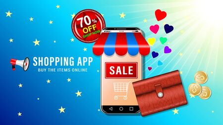 Online shopping app. Smartphone in the form of a store and brown leather wallet with coins on blue sky and sun background. Sale and big discounts advertising banner, website page. Vector illustration. Stock Illustratie