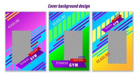 Set banners a4 format with colorful geometric shapes. Vertical  gradient vector, illustration can use for website, mobile app, poster, flyer, gift card, header page, web design. Stock Illustratie