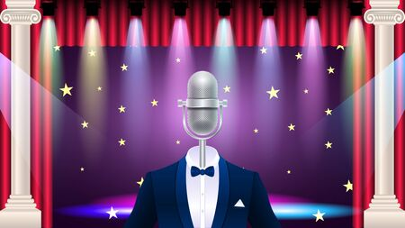 Compere, master of ceremonies, emcee on stage. Realistic silver metal microphone in tuxedo, suit with bowtie, concert stage with colorful light effect . Vector Illustration Stock Illustratie