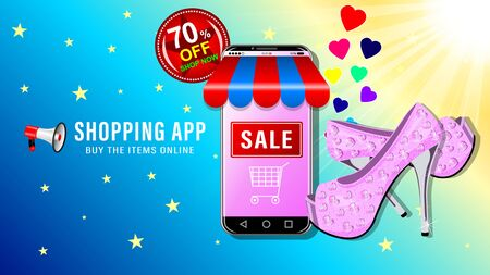 Online shopping app. Smartphone in the form of a store, womens pink shoes with shiny rhinestones on high heels. Sale and big discounts advertising banner, website page. Vector illustration.