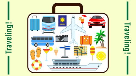 Traveling. Concept Suitcase with set different pictures for travel on the surface. elements for vacation travel, leisure in one baggage isolated. Vector Illustration