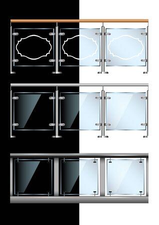 Establecer barandilla transparente transparente de vidrio y metal moderno aislado. Vector realista, ilustración.