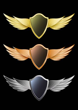 Set of wings and shields gold, bronze, silver metal isolated on a black background. Realistic detailed emblems, labels badges, logo. Vector, illustration. Stock Illustratie