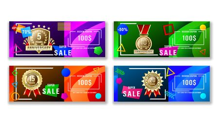 Set banners gift card with geometric shapes and gold anniversary labels, medals, emblems. Vector Illustration Stock Illustratie