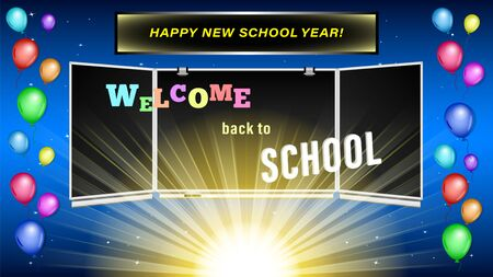 Welcome back to School inscription on blackboard. Colorful balloons on the background of the dawn of the sun and the starry sky. Vector Illustration. Stock Illustratie