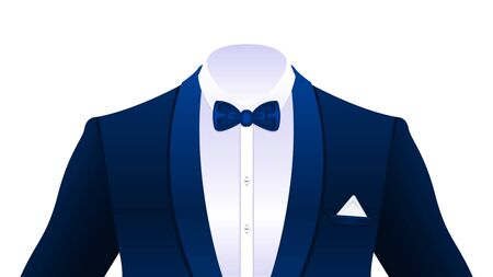 Realistic elegant dark blue tuxedo, suit with bowtie and in a white shirt isolated on white background. Vector Illustration