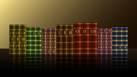 Stack of old expensive books with gold patterns on a reflection  surface. Realistic Vector, illustration.