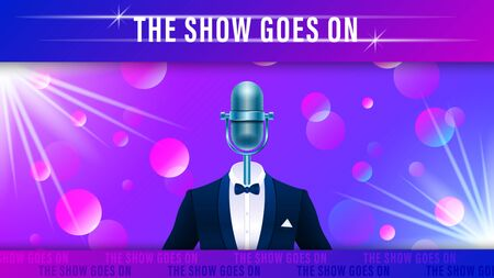 Compere, master of ceremonies, emcee on stage. Realistic blue metal microphone in tuxedo, suit with bowtie on colorful light effect background. Vector Illustration Stock Illustratie