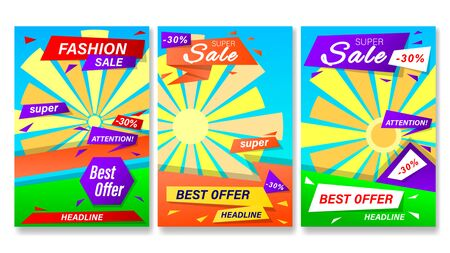 Sale stories. Set banners with colorful geometric shapes. Vertical gradient vector, illustration can use for website, mobile app, poster, flyer, gift card, smartphone template, web design.