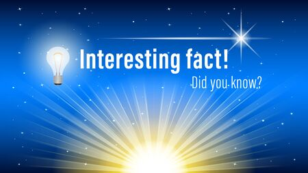 Did you know?, Interesting fact! inscription on website page, banner. Sunrise on a night starry sky background. Realistic vector, illustration. Stock Illustratie