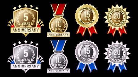 Set gold and silver metal anniversary labels. Signs Badges round medals and shields with ribbons  and a Laurel wreath isolated on background. Vector illustration Stock Illustratie