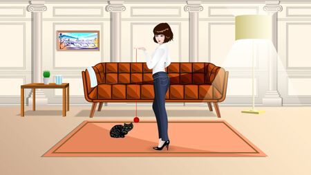 Slim girl in tight jeans playing with a black cat in the cozy living room. Vector, Illustration.