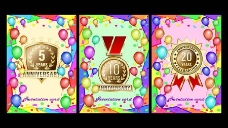 Set banners gift card with geometric shapes, colored balloons and gold anniversary labels, medals, emblems. Vector Illustration