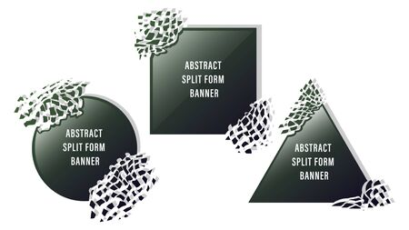 Abstract split form shattered, fragmented geometric shapes ( circle, triangle, square ) glossy banners isolated on white background. Vector, illustration
