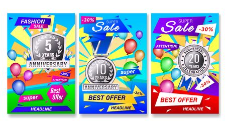 Set banners gift card with geometric shapes, colored balloons and silver anniversary labels, medals, emblems. Vector Illustration