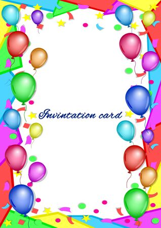 Invitation, greeting, congratulatory card, poster. Colorful balloons, confetti and a frame of geometric shapes on white background. Bright, festive, vertical vector, illustration. Stock Illustratie