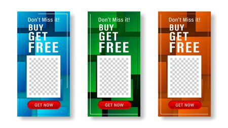 Set of dynamic squares, rectangle, rect modern background banner for social media stories, web page, mobile phone. Sale template design special offer. Vector illustration. Ilustracja