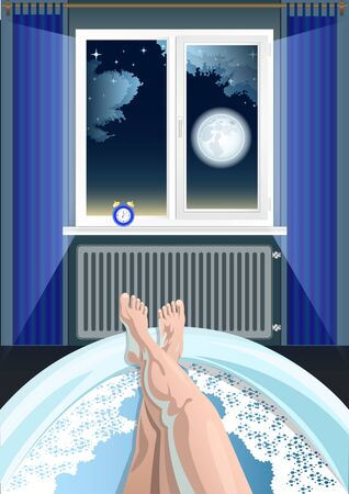 Womens feet, legs in the bathtub, bathroom, first person view. The night starry sky with clouds and full moon in the window, the alarm clock on the windowsill in the background. Vector illustration.