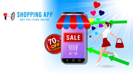 Online shopping app. Smartphone in the form of a store, which runs a young woman. Sale and big discounts advertising banner, website page. Vector illustration. Stock Illustratie