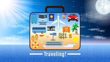 Concept Suitcase with set different pictures for travel on the surface against the change of day and night, the sun and moon in the sky. Advertising for vacation travel, leisure. Vector Illustration Çizim