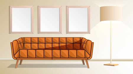 Brown couch, wooden frames on wall and floor lamp in living room.  Modern interior design Vector illustration