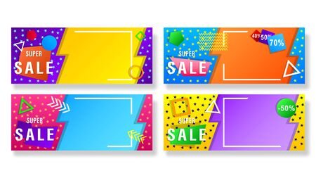 Set banners with colorful geometric shapes. Horizontal gradient vector, illustration can use for website, mobile app, poster, flyer, gift card, smartphone template, web design.