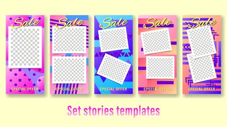 Sale stories for foto template. Set banners with colorful geometric shapes. Vertical gradient vector, illustration can use for website, mobile app, poster, flyer, gift card, smartphone template.