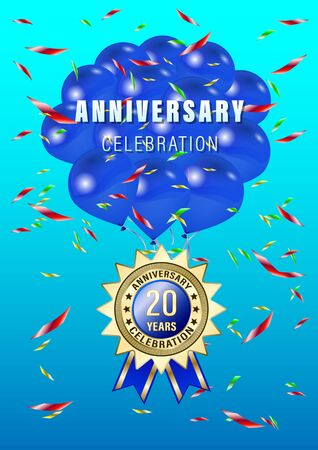Poster, gift card with blue balloons and gold anniversary label, medal, emblem on a blue sky background. Vertical realistic Vector Illustration Stock Illustratie