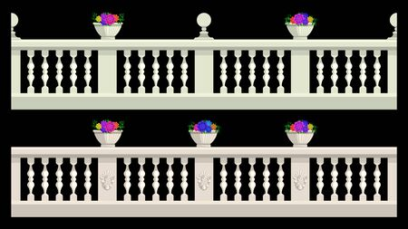 Stone railing, balustrade with flower pots and patterned stucco isolated on a black background. Vector, illustration.