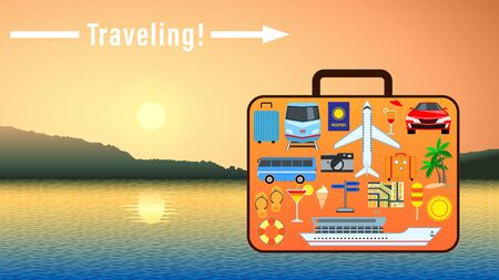 Traveling. Concept Suitcase with set different pictures for travel on the surface on the background of a beautiful sunset over the water. Banner ads for vacation travel, leisure. Vector Illustration Stock Illustratie