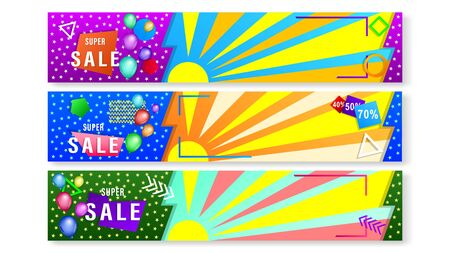 Set banners with colorful geometric shapes and balloons. Horizontal widescreen gradient vector, illustration can use for website, mobile app, poster, flyer, gift card, header page, web design.