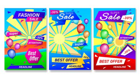 Set banners with colorful geometric shapes and balloons. Vertical a4 format gradient vector, illustration can use for website, mobile app, poster, flyer, gift card, header page, web design.