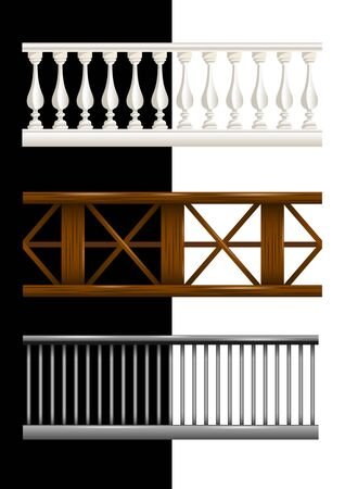 Set stone, wooden and metal seamless railings isolated. Realistic vector, illustration.
