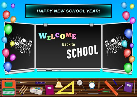 Welcome back to School inscription on blackboard. Colorful balloons on the background of the dawn of the sun and the blue sky. Vector Illustration.