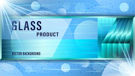 Realistic transparent blue glass plate, sign board on abstract background. Water drops on glass. Advertising banner Vector Illustration