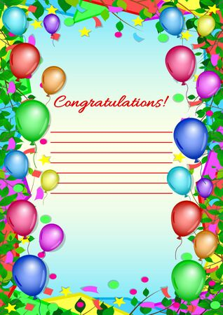 Invitation, greeting, congratulatory card, poster. Colorful balloons, confetti and branches with leaves frame on a blue sky background. Bright, festive, vertical vector, illustration.