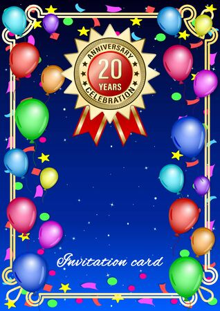 Poster, gift card with colored balloons and gold anniversary label, medal, emblem on a starry sky background. Vertical realistic Vector Illustration