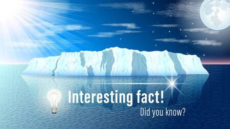 Did you know?, Interesting fact! inscription on website page, banner. Iceberg at sea, sun and moon on a starry sky background. Realistic vector, illustration.