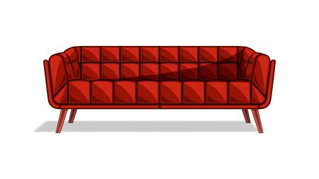 Brown color Couch, Sofa isolated on a white background. Flat style design vector, illustration. Stock Illustratie