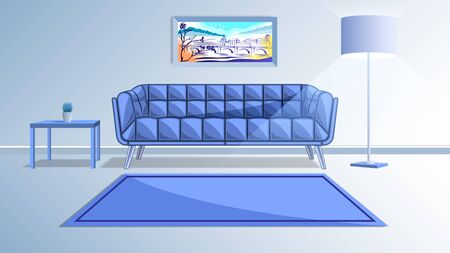 Living room in blue pastel colors. Sofa, floor lamp, painting and coffee table. Modern interior design vector, illustration.