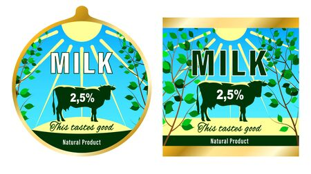 Milk label, farm product packaging. Silhouette of a cow in a meadow under the sun. Vector illustration