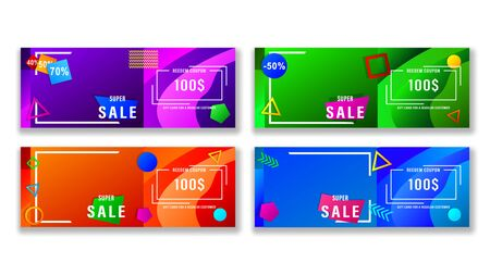 Set abstract banners with colorful geometric shapes. Horizontal gradient vector, illustration can use for website, mobile app, poster, flyer, gift card, smartphone template, web design.