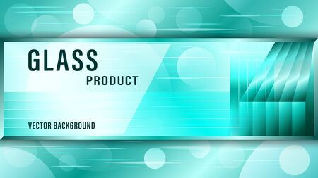 Realistic transparent green glass plate, sign board on abstract background. Advertising banner Vector Illustration