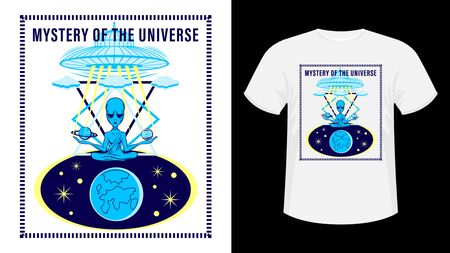 An alien is sitting in the lotus position. UFO in sky. poster, print for t-shirt. Hand drawn Vector Illustration