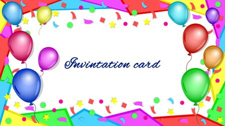 Invitation, greeting, congratulatory card, poster. Colorful balloons, confetti and a frame of geometric shapes on white background. Bright, festive, horizontal vector, illustration. Stock Illustratie