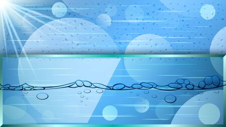Wet surface, water drops, glare of light, bubbles in the liquid. Realistic detailed transparent water background behind the glass, banner. Vector Illustration Illustration