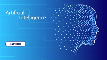 Artificial intelligence in the form of a virtual human head with a neural network. AI face analyze information. Concept technology web page template. Vector Illustration.