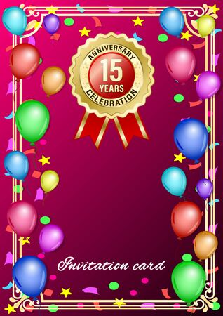 Poster, gift card with colored balloons and gold anniversary label, medal, emblem on a red gradient background. Vertical realistic Vector Illustration  イラスト・ベクター素材